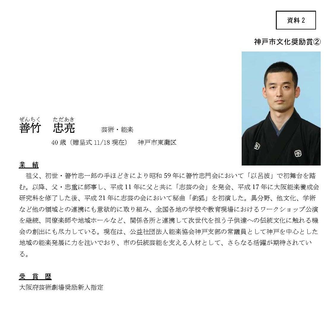 善竹忠亮氏 令和2年度神戸市文化奨励賞